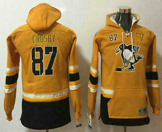 Youth Pittsburgh Penguins #87 Sidney Crosby Yellow 2017 Stadium Series Stitched NHL Old Time Hockey Hoodie