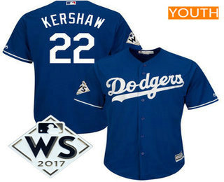 Youth Los Angeles Dodgers Clayton Kershaw Majestic Royal 2017 World Series Patch Cool Base Player Jersey