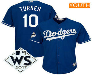 Youth Los Angeles Dodgers Justin Turner Majestic Royal 2017 World Series Patch Cool Base Player Jersey
