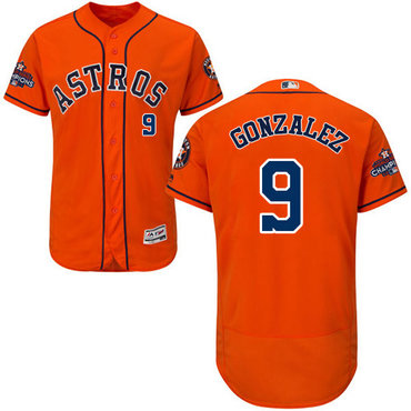 Men's Houston Astros #9 Marwin Gonzalez Orange Flexbase Authentic Collection 2017 World Series Champions Stitched MLB Jersey