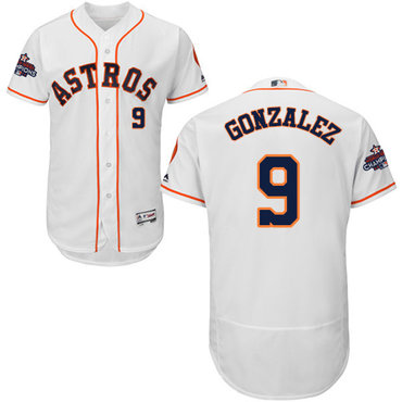 Men's Houston Astros #9 Marwin Gonzalez White Flexbase Authentic Collection 2017 World Series Champions Stitched MLB Jersey
