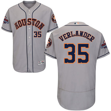 Men's Houston Astros #35 Justin Verlander Grey Flexbase Authentic Collection 2017 World Series Champions Stitched MLB Jersey