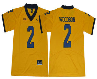 Men's Michigan Wolverines #2 Charles Woodson Yellow 2017 College Football Stitched Brand Jordan NCAA Jersey
