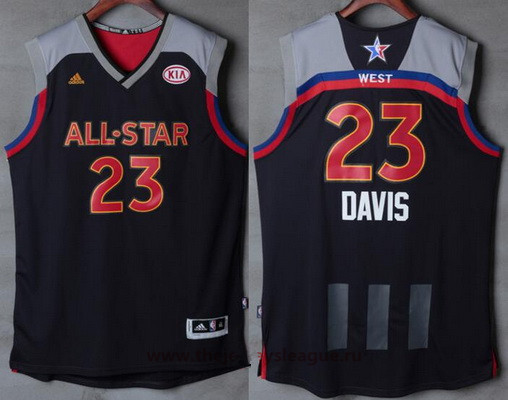 Men's Western Conference Orleans Pelicans #23 Anthony Davis adidas Black Charcoal 2017 NBA All-Star Game Swingman Jersey