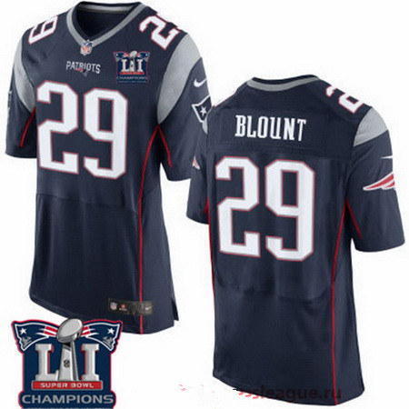 Men's New England Patriots #29 LeGarrette Blount Navy Blue 2017 Super Bowl LI Champions Patch Stitched NFL Nike Elite Jersey