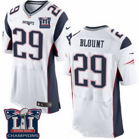 Men's New England Patriots #29 LeGarrette Blount White 2017 Super Bowl LI Champions Patch Stitched NFL Nike Elite Jersey