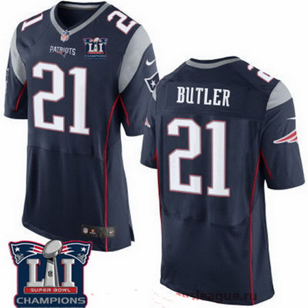Men's New England Patriots #21 Malcolm Butler Navy Blue 2017 Super Bowl LI Champions Patch Stitched NFL Nike Elite Jersey