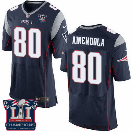 Men's New England Patriots #80 Danny Amendola Navy Blue 2017 Super Bowl LI Champions Patch Stitched NFL Nike Elite Jersey