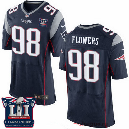 Men's New England Patriots #98 Trey Flowers Navy Blue 2017 Super Bowl LI Champions Patch Stitched NFL Nike Elite Jersey