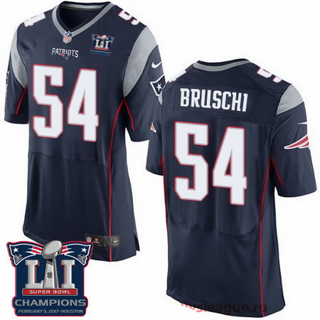 Men's New England Patriots #54 Tedy Bruschi Navy Blue 2017 Super Bowl LI Champions Patch Stitched NFL Nike Elite Jersey