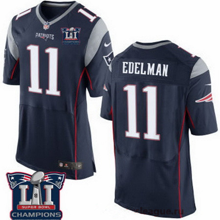 Men's New England Patriots #11 Julian Edelman Navy Blue 2017 Super Bowl LI Champions Patch Stitched NFL Nike Elite Jersey
