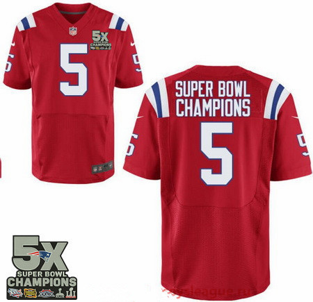 Men's New England Patriots #5 Super Bowl Champions Red 5X Patch Stitched NFL Nike Elite Jersey