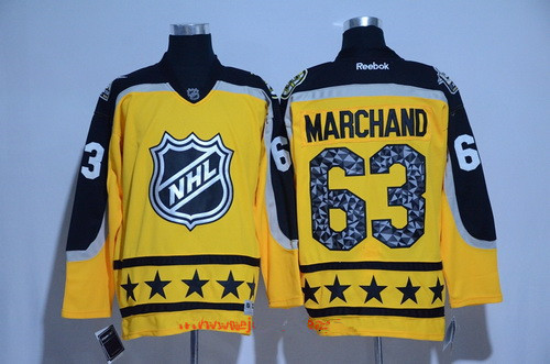 Men's Atlantic Division Boston Bruins #63 Brad Marchand Reebok Yellow 2017 NHL All-Star Stitched Ice Hockey Jersey
