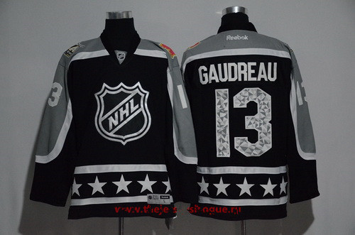 Men's Pacific Division Calgary Flames #13 Johnny Gaudreau Reebok Black 2017 NHL All-Star Stitched Ice Hockey Jersey