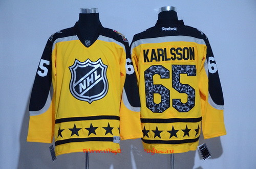 Men's Atlantic Division Ottawa Senators #65 Erik Karlsson Reebok Yellow 2017 NHL All-Star Stitched Ice Hockey Jersey