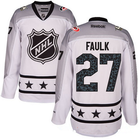 Men's Metropolitan Division Carolina Hurricanes #27 Justin Faulk Reebok White 2017 NHL All-Star Stitched Ice Hockey Jersey