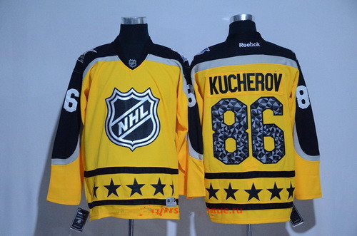 Men's Atlantic Division Tampa Bay Lightning #86 Nikita Kucherov Reebok Yellow 2017 NHL All-Star Stitched Ice Hockey Jersey