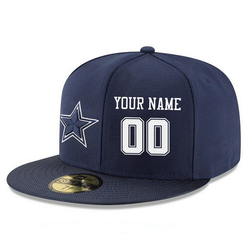 Dallas Cowboys Custom Snapback Cap NFL Player Navy Blue with White Number Stitched Hat