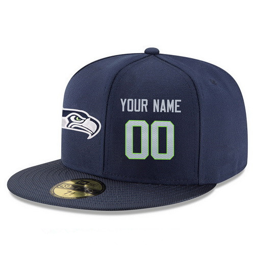 Seattle Seahawks Custom Snapback Cap NFL Player Navy Blue with Gray Number Stitched Hat