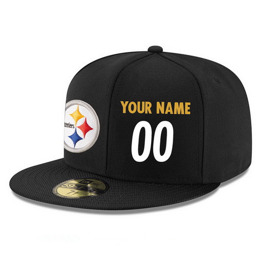 Pittsburgh Steelers Custom Snapback Cap NFL Player Black with White Number Stitched Hat