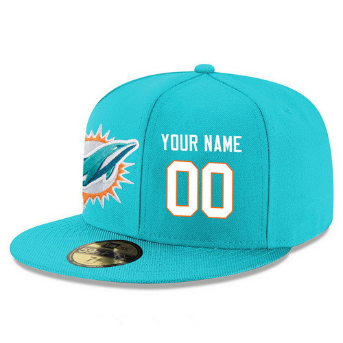 Miami Dolphins Custom Snapback Cap NFL Player Aqua Green with White Number Stitched Hat
