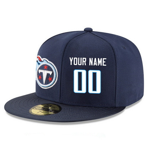 Tennessee Titans Custom Snapback Cap NFL Player Navy Blue with White Number Stitched Hat