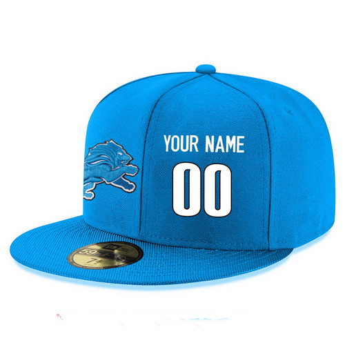 Detroit Lions Custom Snapback Cap NFL Player Light Blue with White Number Stitched Hat