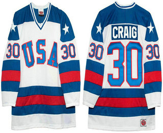 Men's 1980 Olympics USA #30 Jim Craig White Throwback Stitched Vintage Ice Hockey Jersey