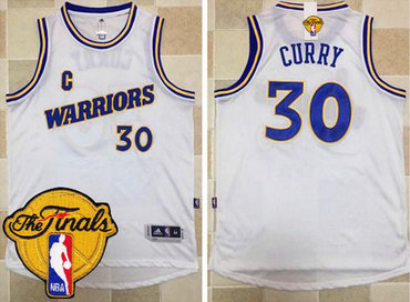 Men's Warriors #30 Stephen Curry White New Throwback 2017 The Finals Patch Stitched NBA Jersey