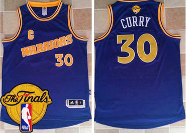 Men's Warriors #30 Stephen Curry Blue New Throwback 2017 The Finals Patch Stitched NBA Jersey