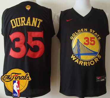 Men's Warriors #35 Kevin Durant Black New Fashion 2017 The Finals Patch Stitched NBA Jersey