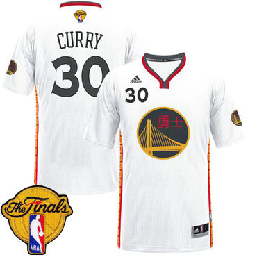 Men's Warriors #30 Stephen Curry White 2017 Chinese New Year The Finals Patch Stitched NBA Jersey