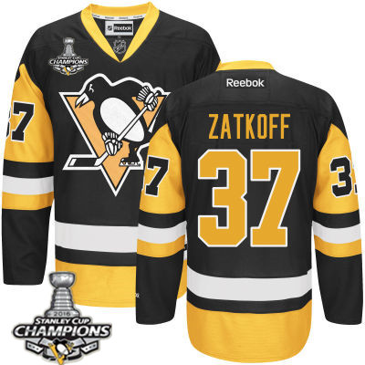 Men's Pittsburgh Penguins #37 Jeff Zatkoff Black Third Jersey 2017 Stanley Cup Champions Patch