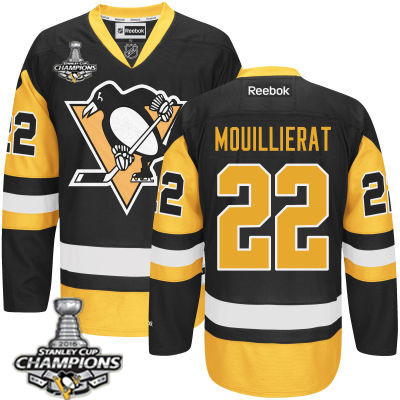 Men's Pittsburgh Penguins #22 Kael Mouillierat Black Third Jersey 2017 Stanley Cup Champions Patch