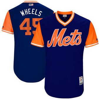 Men's New York Mets Zack Wheeler Wheels Majestic Royal 2017 Players Weekend Authentic Jersey