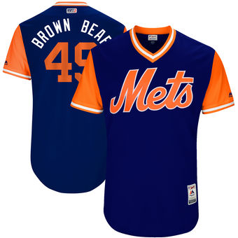 Men's New York Mets Josh Smoker Brown Bear Majestic Royal 2017 Players Weekend Authentic Jersey