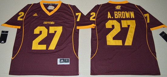 Men's Central Michigan Chippewas #27 Antonio Brown Maroon Red Limited Stitched College Football 2016 adidas NCAA Jersey