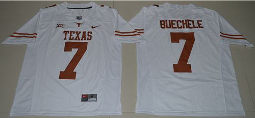 Men's Texas Longhorns #7 Shane Buechele White Limited Stitched NCAA Jersey