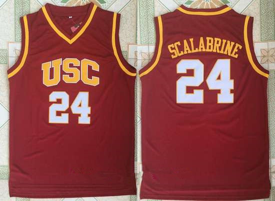 Men's USC Trojans #24 Brian Scalabrine Red College Basketball Retro Swingman Stitched NCAA Jersey