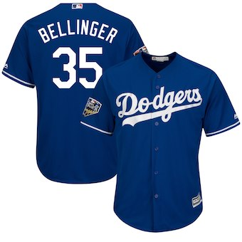 Men's Los Angeles Dodgers #35 Clayton Kershaw Majestic Gray 2018 World Series Cool Base Player Jersey
