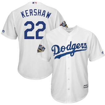 Men's Los Angeles Dodgers #22 Clayton Kershaw Majestic White 2018 World Series Cool Base Player Jersey