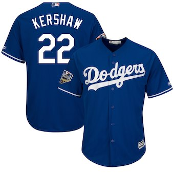 Men's Los Angeles Dodgers #22 Clayton Kershaw Majestic Royal 2018 World Series Cool Base Player Jersey