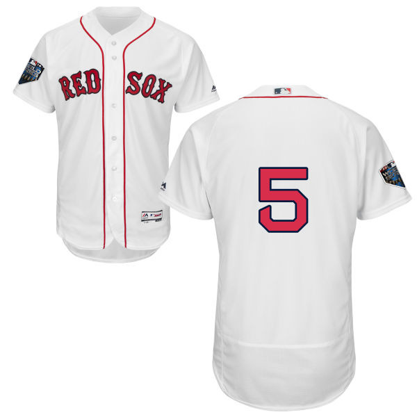 Red Sox #5 Nomar Garciaparra White Flexbase Authentic Collection 2018 World Series Stitched MLB Jersey
