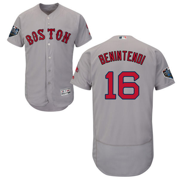 Red Sox #16 Andrew Benintendi Grey Flexbase Authentic Collection 2018 World Series Stitched MLB Jersey
