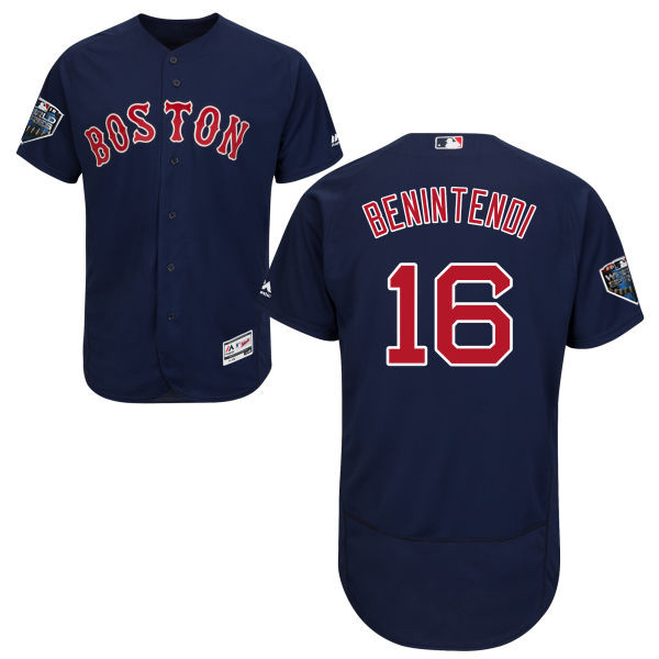 Red Sox #16 Andrew Benintendi Navy Blue Flexbase Authentic Collection 2018 World Series Stitched MLB Jersey
