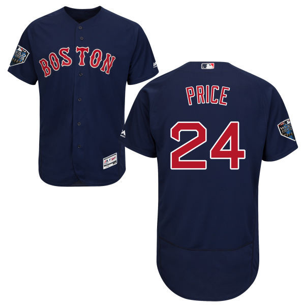 Red Sox #24 David Price Navy Blue Flexbase Authentic Collection 2018 World Series Stitched MLB Jersey