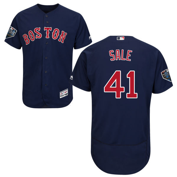 Red Sox #41 Chris Sale Navy Blue Flexbase Authentic Collection 2018 World Series Stitched MLB Jersey