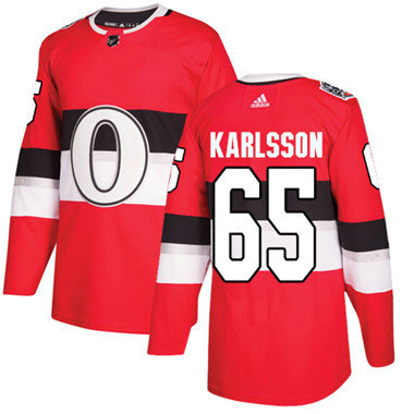 Kid Adidas Senators 65 Erik Karlsson Red Authentic 2017 100 Classic Stitched NHL Jersey