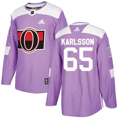 Kid Adidas Senators 65 Erik Karlsson Purple Authentic Fights Cancer Stitched NHL Jersey