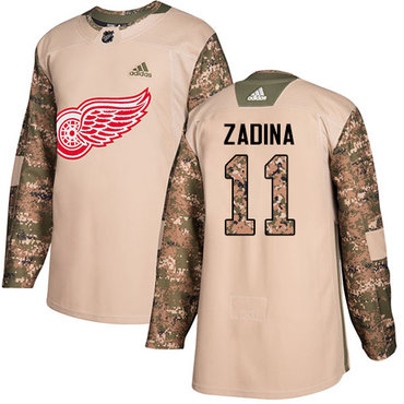 Men's Detroit Red Wings #11 Filip Zadina Authentic Adidas Veterans Day Practice Camo Jersey